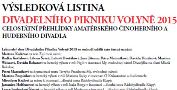 Výsledková listina Divadelního Pikniku Volyně 2015